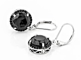 Black Spinel Rhodium Over Sterling Silver Earrings 8.77ctw