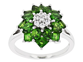 Green Chrome Diopside Rhodium Over Sterling Silver Ring 2.96ctw