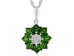 Chrome Diopside Rhodium Over Silver Pendant With Chain 2.96ctw