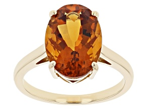 Orange Madeira Citrine 18k Yellow Gold Over Sterling Silver Solitaire Ring 4.66ct