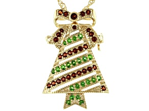 Red Garnet 18K Gold Over Silver Christmas Tree Brooch Pendant Chain 0.91ctw.