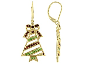 Red Garnet 18K Yellow Gold Over Silver Christmas Tree Earrings 1.04ctw.