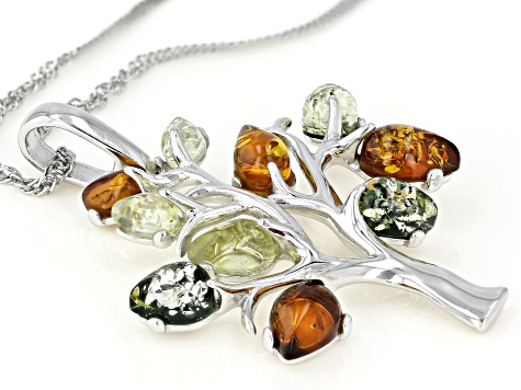 Multi-Color Amber Rhodium Over Sterling Silver Tree Pendant With Chain