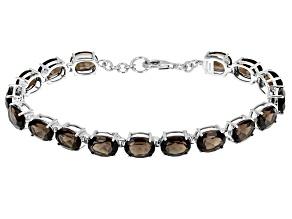 Brown Smoky Quartz Rhodium Over Silver Tennis Bracelet 14.60ctw