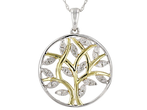 White Diamond 14k White Gold And 14k Yellow Gold Accents Pendant .22ctw