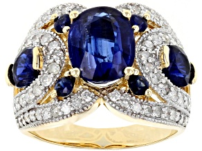 Blue Kyanite, Blue Sapphire And White Diamond 14k Yellow Gold Ring 5.16ctw