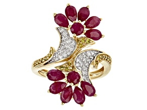 Yellow And White Diamond And Red Mozambique Ruby 14k Yellow Gold Ring 3.78ctw