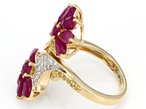 Red Mozambique Ruby And Yellow & White Diamond 14k Yellow Gold Ring 3.78ctw