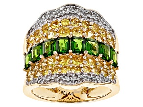 White Diamond, Yellow Sapphire And Green Chrome Diopside 14k Yellow Gold Ring 3.98ctw