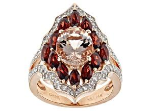 White Diamond, Morganite And Red Garnet 14k Rose Gold Ring 5.21ctw