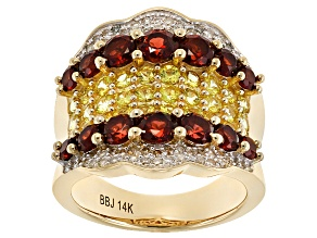 Red Garnet, Yellow Sapphire And White Diamond 14k Yellow Gold Ring 3.98ctw