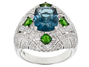 London Blue Topaz, Chrome Diopside & White Diamond 14k White Gold Ring 4.66ctw