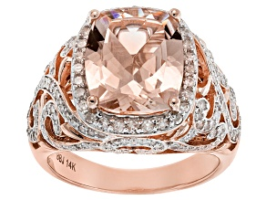 White Diamond And Morganite 14k Rose Gold Ring 5.43ctw