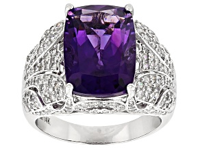 White Diamond And Purple African Amethyst 14k White Gold Ring 9.12ctw