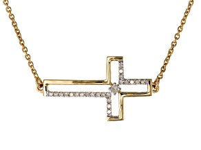 White Diamond 14k Yellow Gold Necklace .12ctw