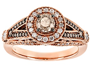 Champagne And White Diamond 14k Rose Gold Ring 1.02ctw