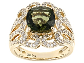 Green Moldavite And White Diamond 14k Yellow Gold Ring 3.30ctw