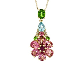 Tourmaline & Multi-Gemstone 14k Yellow Gold Pendant 2.59ctw