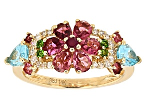 Tourmaline And Multi-Gemstone 14k Yellow Gold Ring 1.91ctw