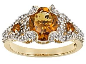 Madeira Citrine And White Diamond 14k Yellow Gold Ring 2.16ctw