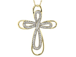 "White Diamond 14k Yellow Gold Cross Pendant With 18"" Rope Chain .33ctw"
