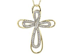 White Diamond 14k Yellow Gold Cross Pendant With 18