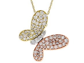 White Diamond 14k Three-Tone Gold Butterfly Pendant With 18