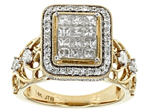 White Diamond 14k Yellow Gold Quad Ring 1.25ctw