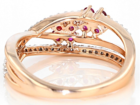 Red Ruby And White Diamond 14k Rose Gold Ring .60ctw