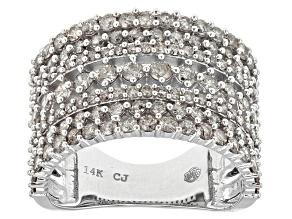White Diamond 14k White Gold Wide Band Ring 2.00ctw