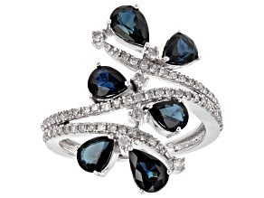 Blue Sapphire And White Diamond 14k White Gold Ring 2.75ctw