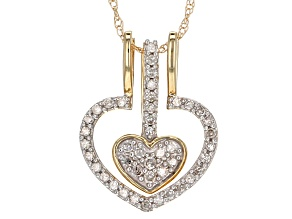 "White Diamond 14k Yellow Gold Heart Pendant With 18"" Rope Chain 0.22ctw"