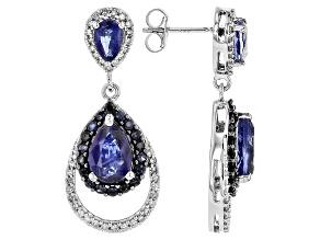 White Diamond, Blue Kyanite And Sapphire 14k White Gold Earrings 5.82ctw