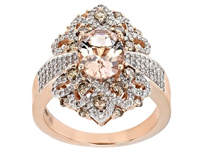 Champagne And White Diamond With Pink Morganite 14k Rose Gold Ring 2.61ctw