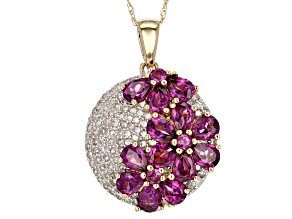 White Diamond And Grape Colored Garnet 14k Yellow Gold Pendant 3.29ctw