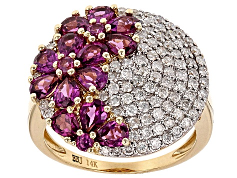 Grape Color Garnet And White Diamond 14k Yellow Gold Ring 3.82ctw