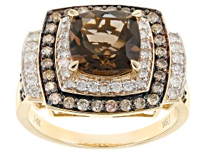 Brown Smoky Quartz And Champagne & White Diamond 14k Yellow Gold Ring 2.60ctw