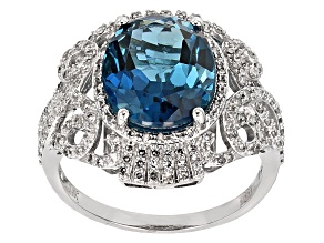 London Blue Topaz And White Diamond 14k White Gold Ring 6.40ctw