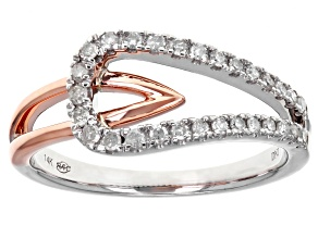White Diamond 14k Rose And White Gold Ring .25ctw