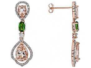 Pink Morganite, Green Chrome Diopside And White Diamond 14k Rose Gold Earrings 3.88ctw