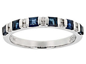 Blue Sapphire And White Diamond 14k White Gold Ring .77ctw