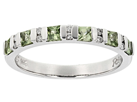 Green Sapphire And White Diamond 14k White Gold Ring .74ctw