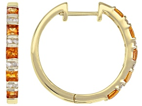 Orange Sapphire And White Diamond 14k Yellow Gold Hoop Earrings 1.15ctw
