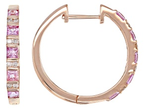 White Diamond And Pink Sapphire 14k Rose Gold Hoop Earrings 1.15ctw
