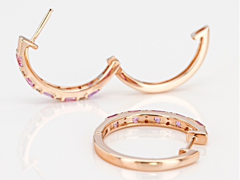 Pink Sapphire And White Diamond 14k Rose Gold Hoop Earrings 1.15ctw
