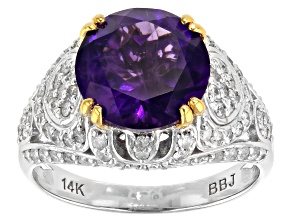 White Diamond And Purple  African Amethyst 14k White Gold Ring With 14k Yellow Gold Accents 3.67ctw