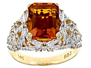 Madeira Citrine and White Diamond 14k Yellow Gold Ring 3.93ctw