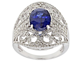 Blue Kyanite And White Diamond 14k White Gold Ring 3.37ctw