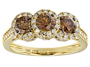 Champagne and White Diamond 14k Yellow Gold Ring 1.50ctw