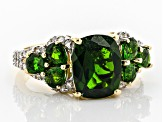 Chrome Diopside and White Diamond 14k Yellow Gold Ring 4.65ctw
